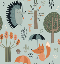 Vector Seamless Pattern With Hand Drawn Wild Forest Animals With Umbrellas, Leaves, Trees.