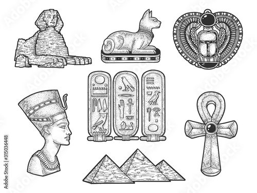 Stampa su Tela Ancient Egyptian mummy from sarcophagus sketch engraving vector illustration