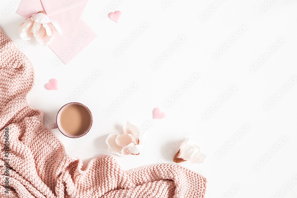 Obraz Valentine's Day background. Pink flowers, plaid, envelope on white background. Valentines day concept. Flat lay, top view, copy space fototapeta, plakat