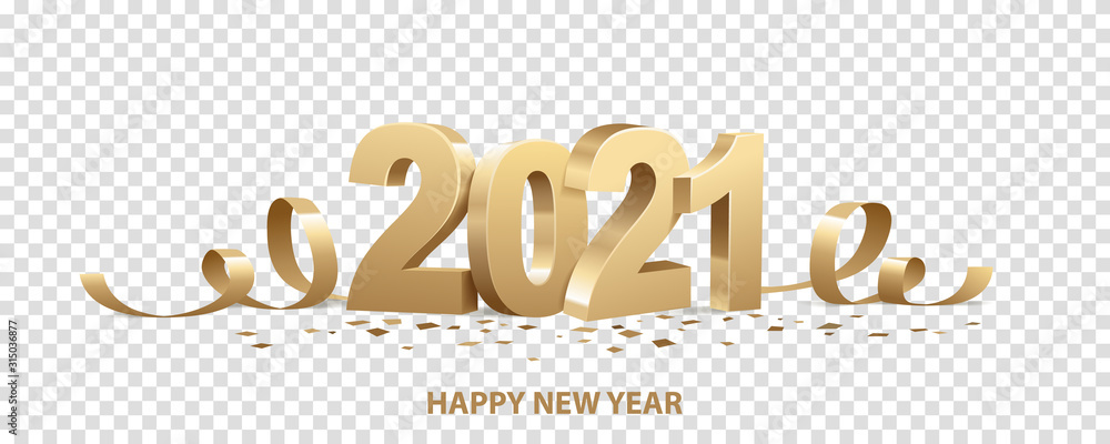 Fototapeta Happy New Year 2021. Golden 3D numbers with ribbons and confetti , isolated on transparent background.