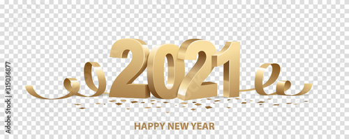 Fototapeta Happy New Year 2021. Golden 3D numbers with ribbons and confetti , isolated on transparent background. obraz