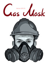 Human Face With Gas Mask And Hard Hat Vector Sketch