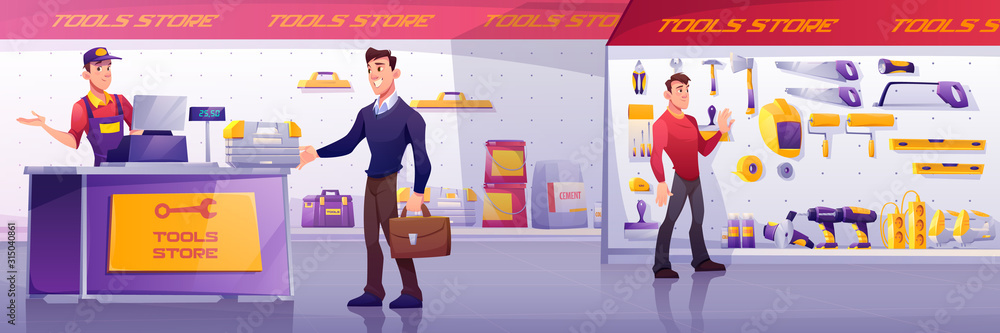 Fototapeta Customers and salesman in tool store. Man buy toolbox at counter. Vector cartoon illustration of shop interior with electric hardware, hand construction instruments and materials on shelves
