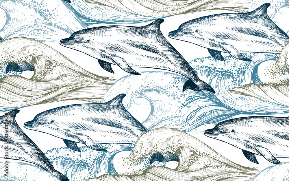 Vector monochrome seamless pattern with ocean waves and dolphins in sketch style