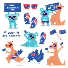 Happy Australia Day Vector Concept Illustration Set With Cute Kangaroo And Koala Characters Isolated On A White Background.