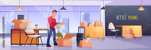 Fototapeta Vector illustration of office interior with manager and cardboard package boxes for move to another location. Employee folds work equipment, stationery and documents. Office moving, change address obraz