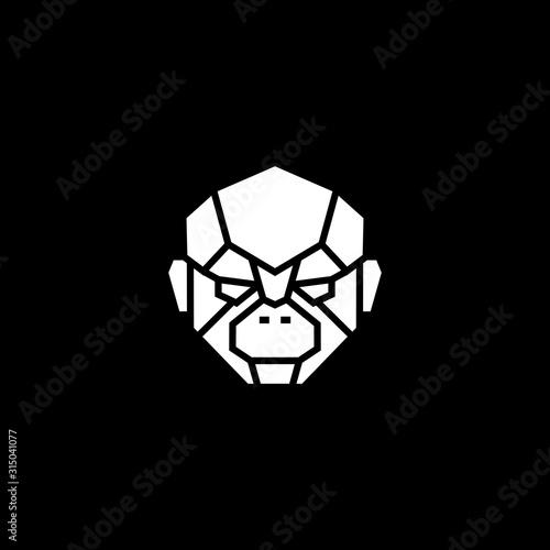 Foto monkey chimp face head robot cyborg logo vector icon illustration
