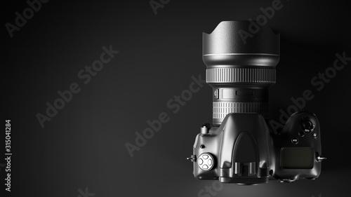 Obraz Professional digital camera on black - fototapety do salonu