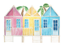Watercolor Colorful Beach Hous...
