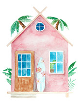 Watercolor Bungalow Cartoon Il...