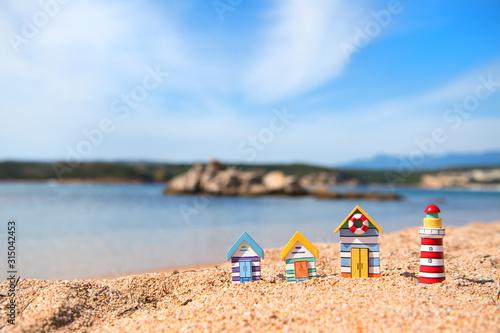 coast with miniature village