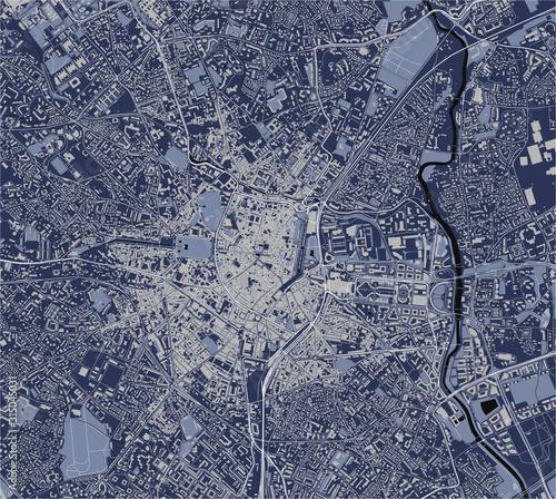 Obraz na plátně map of the city of Montpellier, Herault, Occitanie, France