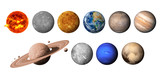 The solar system consists of the Sun, Mercury, Venus, Earth, Mars, Jupiter, Saturn, Uranut, Neptune, Pluto. isolated with clipping path on white background.Elements of this image furnished by NASA