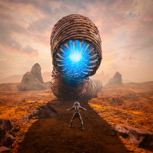 Guardian Of The Sands / 3D Illustration Of Science Fiction Scene Showing Astronaut Encountering Giant Giant Alien Worm Monster On Desert Planet