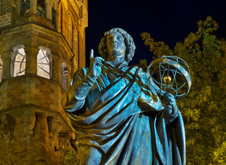 Monument to Nicolaus Copernicus at Market square in Torun. Poland