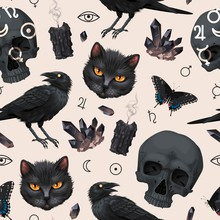 Seamless Pattern With Raven An...