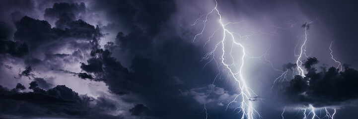 Thunderstorm with lightning bolts, banner image.
