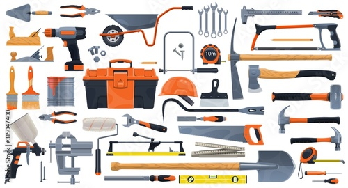 Repair, construction and building vector tools. Toolbox and hammer, screwdriver and drill, spanner, wrench, paint brush and roller, pliers, helmet and trowel, screw and hacksaw, planer, tile cutter - 315047400