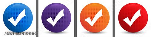 Obraz na plátně Checkmark icon abstract halftone round button set