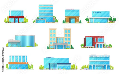 Hospital and pharmacy store, medical and healthcare building vector icons Canvas Print