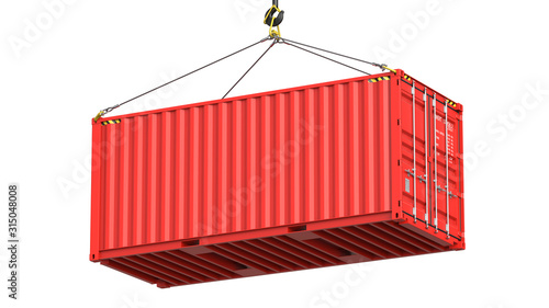 Red twenty feet cargo container hanging on a crane hook Isolated on white background Wallpaper Mural