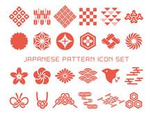 日本の伝統模様 和柄アイコン素材のセット