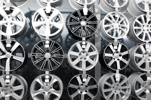 Photo Alloy wheels on display in auto store