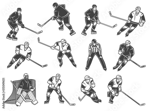 Ice hockey players, vector characters Canvas Print