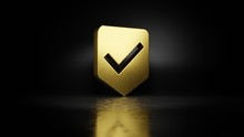 Gold Metal Symbol Of Been Here Marker 3D Rendering With Blurry Reflection On Floor With Dark Background