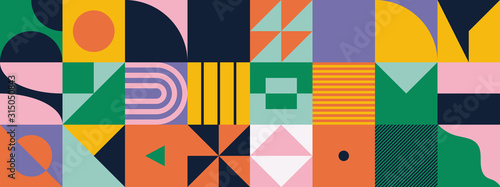 Mid-Century Abstract Vector Pattern Tapéta, Fotótapéta