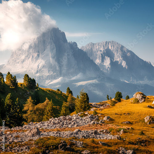 Wall mural - Beautiful alpine countryside. Scenic image of famous Sassolungo peak with overcast perfect blue sky. Wonderful Vall Gardena under sunlight. Majestic Dolomites Mountains. Amazing nature Landscape.