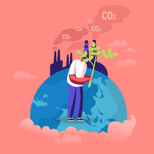 Ecological Issues, Global Warming, Environment Care, Day Of Earth Concept. Man Stand On Earth Globe Planting Tree Near Factory Emitting CO2 Gas Volunteer Saving Nature Cartoon Flat Vector Illustration