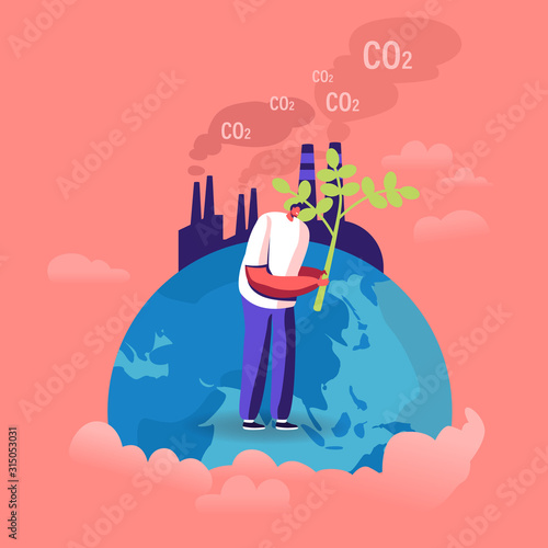 Fototapeta Ecological Issues, Global Warming, Environment Care, Day of Earth Concept. Man Stand on Earth Globe Planting Tree near Factory Emitting CO2 Gas Volunteer Saving Nature Cartoon Flat Vector Illustration obraz