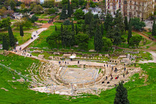 Ancient Theater Of Dionysus Seen From The Hill Of Athens Acropolis. Ancient Ruins. The Theatre Of Dionysus Eleuthereus Is A Major Theatre In Athens, Considered To Be The World's First Theatre