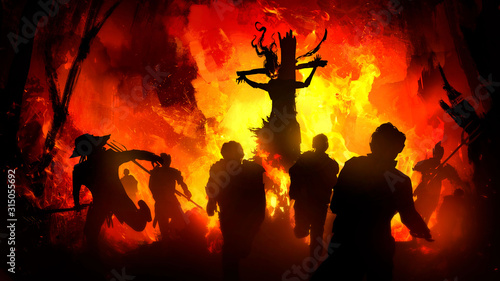 The silhouette of a sinister crucified witch with long hair and ragged clothes, surrounded by a powerful fire, frightened peasants run away from her, against the background of a burning city Fototapet
