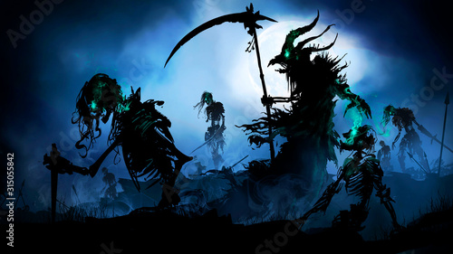 Photo Silhouette of a necromancer with a scythe in a torn cloak and a demonic head in the form of a bird's skull and horns