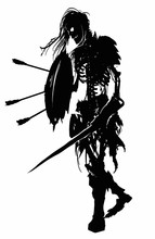 The Black Silhouette Of A Terrible Skeleton In Rags With Exposed Ribs And Spine, Long Hair Sticking Out Of The Skull, With A Shield And A Sword Dragging Forward. 2D Illustration.