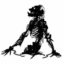 The Black Silhouette Of A Creepy Skeleton In Rags With Exposed Ribs And Spine, Long Hair Sticking Out Of The Skull, Rises From The Ground. 2D Illustration.