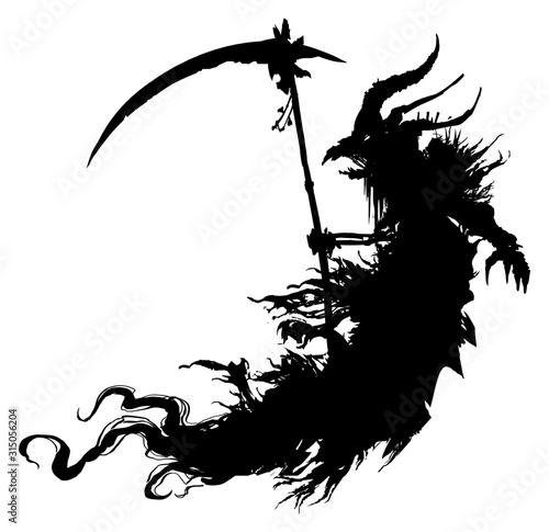 Photo The silhouette of a necromancer with a scythe in a ragged cloak and a demonic head in the form of a bird's skull and horns, hovers in the air