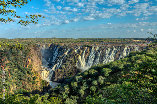 Photo landscape of Ruacana Falls on the Kunene River in Northern Namibia and Southern