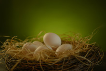 White Eggs In A Nest On A Farm