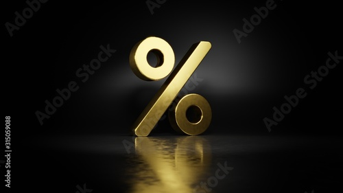 Fotografía  gold metal symbol of percent 3D rendering with blurry reflection on floor with d