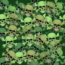 Pattern With The Image Of Skulls In The Style Of Camouflage Green Flowers. Human Skull Seamless Pattern With Bones.