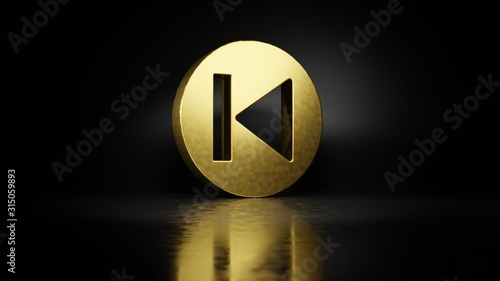gold metal symbol of previous 3D rendering with blurry reflection on floor with Canvas Print