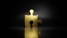 Gold Metal Symbol Of Puzzle Piece 3D Rendering With Blurry Reflection On Floor With Dark Background