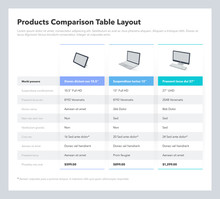 Products Comparison Table Layo...