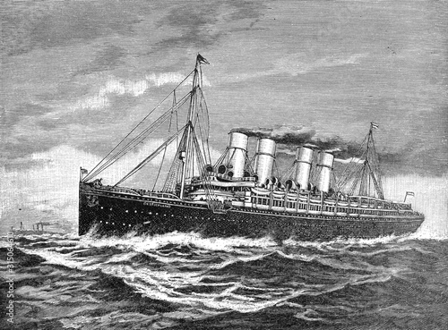 Fotografie, Obraz Double-screw steamer (steam ship) Germany 1900 to New York after the world war 1