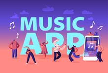 Music App Concept. Young People Wearing Headset Listening Sound Tracks On Mobile Phone. Girl Doing Fitness Exercises, Musical Relaxation Poster Banner Flyer Brochure. Cartoon Flat Vector Illustration