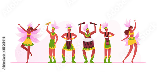Rio Carnival Musicians Band and Girls Dancers Isolated on White Background. Young Men Playing Drums during Traditional Festival in Brazil. Artists with Instruments Cartoon Flat Vector Illustration - 315065444