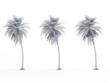 3d rendered object illustration of an abstract white palm tree